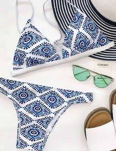 Boho Fashion Floral Print Bikini Set #bohofashion