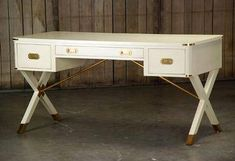 Ashley Campaign Desk Brass Hardware and X-Legs (Can be Used as a Sofa Table) Other Finishes Available Hardware Cannot be Customized