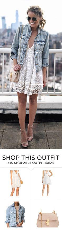 #spring #fashion  Denim Jacket & White Lace Dress & Nude Sandals