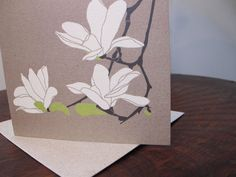 hand drawing of Magnolia Flowers but looks like a print, cool