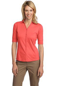 Button Front Shirt - Buy women's silk touch interlock button front sport shirt at Gotapparel.com.