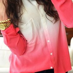 White and pink ombre blouse with gold jewelry.