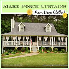 These outdoor curtains were made from painter drop cloths. A tutorial, courtesy of Traci from Beneath My Heart, is found on Front Porch Ideas and More #outdoorcurtains #porchcurtains #painterdropcloths #porch