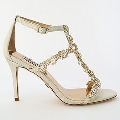 Badgley Mischka Wedding Shoes. Glamorous beaded wedding sandals that redefine walking down the aisle. Gorgeous shoes for the bride.