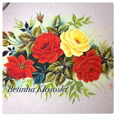 Pintura em tecido. Rosas