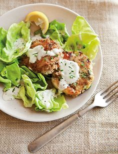 Crab Cake and Butter Lettuce Salad - If you can resist eating the tasty crab cakes immediately on their own, a bed of tender butter lettuce and a drizzle of creamy lemon dressing are a match made in heaven.