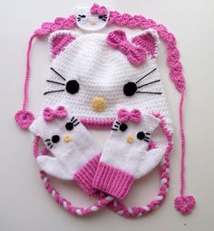 Crochet Kitty Hatkitty mittenhair band for Baby by myknittingworld