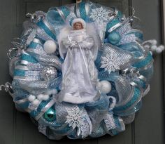 Snow Angel Christmas Wreath Winter Wreath by EverWreath on Etsy