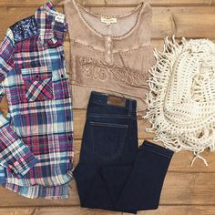 Shop this look at #hoitytoity ❣  Sequin detail flannel button up $36 Henley with Rosette Cuff $58 Big star Ella high rise Skinny $118 Fringe infinity Scarf $18  CALL TO ORDER --> 360.716.2982