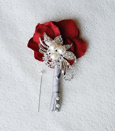 Hydrangea Boutonniere Corsages  Pearl Rhinestone by LXdesigns, $30.00