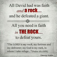 """KJV- """"The Lord is my rock, and my fortress, and my deliverer; my God, my strength, in whom I will trust; my buckler, and the horn of my salvation, and my high tower."""