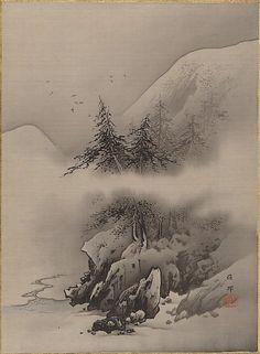 Snow Landscape, Artist: Hashimoto Gahō (Japanese, Period: Meiji period Date: ca. ink and color on silk Japan Painting, Ink Painting, Japanese Landscape, Landscape Art, Chinese Painting, Chinese Art, Art Chinois, Art Asiatique, Art Japonais