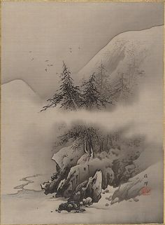 Snow Landscape, 19th century, Japan.  Hashimoto Gahô http://www.metmuseum.org/Collections/search-the-collections/60025789?rpp=20=2=on=Snow+paintings=33