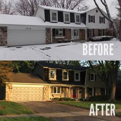 What do you think of this newly done outside of the house? Even put a red door on it. Do you like it? #BeforeAndAfter #Design #Remodel #Renovation #RealEstate #AndrewCordle