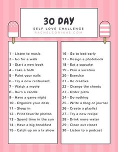 Day Self Love Challenge A new month is coming up. Get started on this 30 day self love challenge right away!A new month is coming up. Get started on this 30 day self love challenge right away! Happiness Challenge, Love Challenge, Health Challenge, Monthly Challenge, Drawing Challenge, 30 Day Challenge Journal, Healthy Eating Challenge, September Challenge, No Spend Challenge