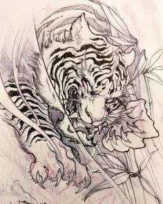 This image shows a simple drawing of a tiger in a bush. The tiger has paws out, it appears to be hunting. Japanese Tiger Tattoo, Japanese Tattoo Designs, Japanese Sleeve Tattoos, Asian Tattoos, Trendy Tattoos, Cool Tattoos, Irezumi Tattoos, Tebori Tattoo, Tattoo Design Drawings