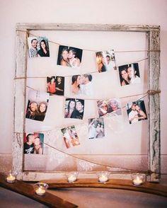 """""""Moldura + barbante + fotos = Item super fácil de fazer e deixa a decoração do casório ainda mais linda!❤️"""""""