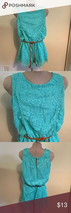 Girls Sequin Hearts Turquoise Romper Size L Girls turquoise green Sequin Hearts lace romper with original brown tie belt. Excellent used condition. Romper length (from shoulder to bottom of leg) 26 1/4 inches. Across at the arm pits (laying flat) 17 1/4 inches. Sequin Hearts Other