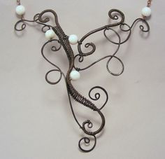 Black and White Beaded Necklace  Copper Statement by DebraNicholls, $60.00