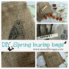 stamped burlap welcome bags  (I have tons of stamps!