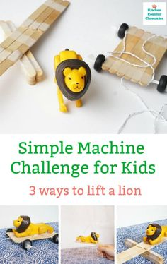 A fun STEM challenge for kids. Learn about simple machines and make 3 simple machines to lift a lion. Great engineering activity for kids. #STEMchallenge #STEMchallengeforkids #engineeringchallenge #engineeringchallengeforkids #scienceforkids #simplemachinesforkids #summerlearningactivityforkids #homeschoolscience Engineering Projects, Stem Projects, Science Projects, Projects For Kids, Stem Science, Teaching Science, Science For Kids, Teaching Ideas, Science Table