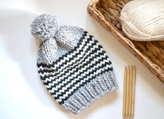 Slouchy Chunky Knit Beanie // Chunky Knit Beanie by StarSeventeen