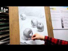 사과 그리기 / 사과가 있는 정물 소묘 과정작 - YouTube