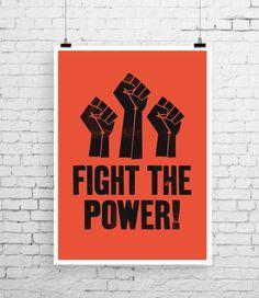 Public Enemy art print, song lyric art, music inspired print, typographic print, Fight The Power, song lyric print