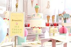 The Little Wonderland T's Birthday / Ice Cream Parlour - Photo Gallery at Catch My Party Kids Party Themes, Kids Party Decorations, Party Ideas, Diy Party, Party Favors, Ice Cream Theme, Ice Cream Party, First Birthday Parties, First Birthdays