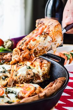 Eggplant Parmesan Skillet Pizza is a #WeekdaySupper recipe that the entire family will love!