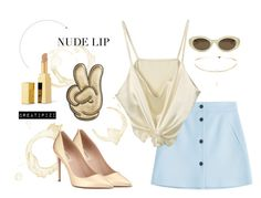 """""""nude lips :)"""" by creatipizi ❤ liked on Polyvore featuring Paul & Joe, Valentino, Elizabeth and James, Anya Hindmarch and Yves Saint Laurent"""