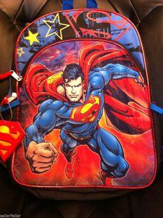 SUPERMAN School Backpack Book Bag Tote FULL SZ f468d1e95adf8