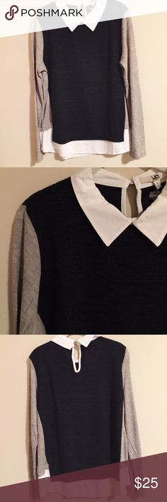 Preppy sweater with collar detail Such a stud piece! I'd keep if it fit me. Bought at a local boutique but listed as J.crew for visibility! J. Crew Sweaters