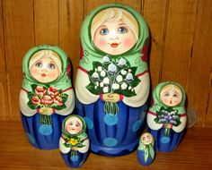 Russia SLIGHT SECONDS Stacking Doll hand painted GIRLS MATT Matrioshka signed 5