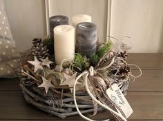 Advent wreath - Advent wreath ★ Merry Christmas ★ - a designer piece by KRA ., Advent wreath - Advent wreath ★ Merry Christmas ★ - a unique product by KRANZundCo on DaWanda. Christmas Advent Wreath, Christmas Candles, Rustic Christmas, Winter Christmas, Christmas Home, Christmas Crafts, Deco Table Noel, Christmas Arrangements, Theme Noel
