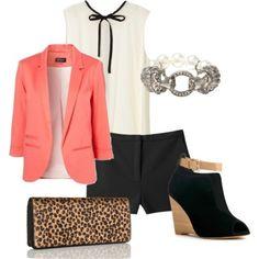 Wear a modern wedge, like Akita, with a black, white & coral ensemble.
