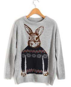YOU'RE A FEVER / RABBIT PRINT KNIT IN GRAY