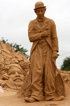 Charlie Chaplin sand sculpture
