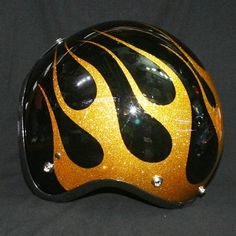 Gold Flames Metal Flake Helmet