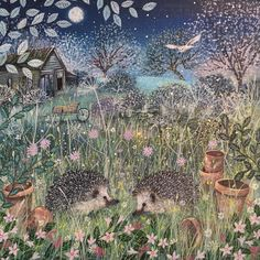 Some night time friends xxx Fairytale Art, Naive Art, Rodin, Woodland Creatures, Wildlife Art, Illustrations And Posters, Cute Illustration, Beautiful Paintings, Pretty Pictures