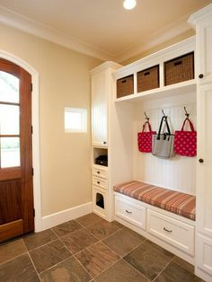 Entry Design, Pictures, Remodel, Decor and Ideas - my next house will have a mud room with built-ins like this. Entryway Storage, Built In Storage, Tile Entryway, Coat Storage, Organized Entryway, Porch Storage, Rustic Entryway, Entryway Ideas, Shoe Storage