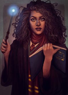 fridouw:  Hermione Granger by fridouwdeviantART | Facebook | Tumblr | TwitterWhen it was announced that Noma Dumezweni would be Hermione in the new Harry Potter play 'Cursed Child' it instantly sparked my inspiration! I wanted to draw my take on Hermione in her teenage years. I experimented a lot with keeping it rough to chill and I really enjoyed drawing it! Hope you like :)