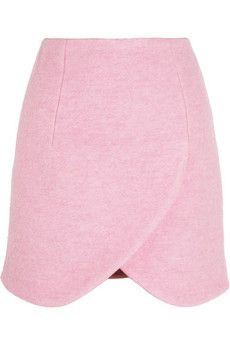 Carven Wrap-effect brushed wool-blend mini skirt Get the Look
