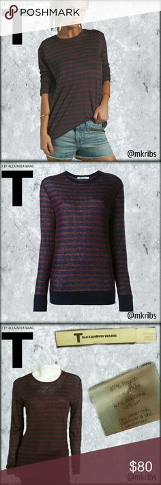 T by Alexander Wang striped long sleeve top, shirt Effortless chic and so comfy. Linen blend, ultra lightweight and oversized long sleeve t. More details in the last photo. NO TRADES PLEASE! OFFERS WELCOME THROUGH OFFER FEATURE ONLY PLEASE! T by Alexander Wang Tops Tees - Long Sleeve
