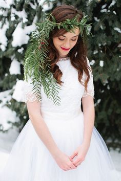 Love this winter woodland themed hair wreath.