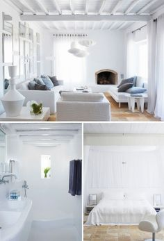 a stylish summer house on mykonos by the style files, via designs house design house design design Boho Home, White Rooms, My Dream Home, Home Fashion, Home And Living, Living Room Designs, New Homes, House Design, Interior Design