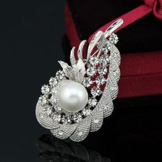 From USA (ONLY 1) Stunning Ladies Swarovski Jewelry Large Austrian Crystals & Pearl Art Deco Vintage Style Brooch / Pin Womens Girls Gift MFSR $270.00. Starting at $1