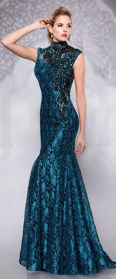 b5f8f3321482 High Neck Sleeveless Blue Glorious mermaid Floor Length Crystal Beading  Appliques Hollow Back Evening Dress 2015