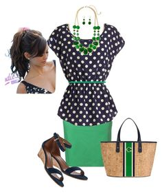 """""""Navy and Kelly Green"""" by curvygirlamy ❤ liked on Polyvore featuring Gerry Weber Edition, CHARLES & KEITH, Tory Burch, C. Wonder and plus size clothing"""