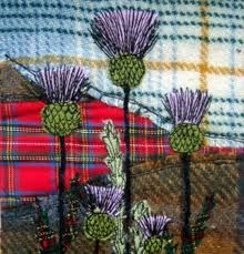 freehand machine embroidery thistle on tartan patchwork Freehand Machine Embroidery, Free Motion Embroidery, Machine Embroidery Applique, Wool Applique, Embroidery Stitches, Hand Embroidery, Embroidery Ideas, Fabric Art, Fabric Crafts